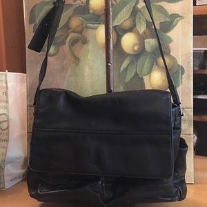 Cole Haan Black Leather Messenger Bag
